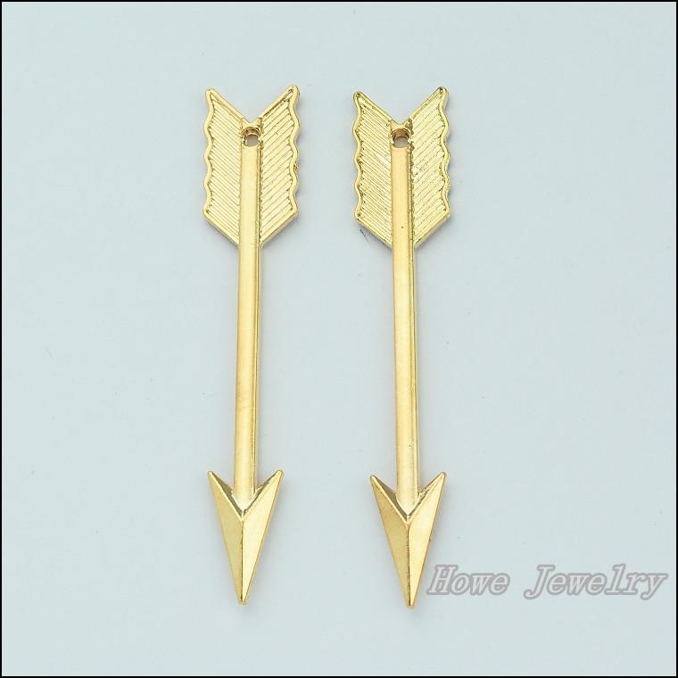 632b8da2a 30 قطع الشمبانيا الذهب مطلي السهم الرماية القوس كيوبيد سحر قلادة صالح  الأوروبي قلادة diy المعادن مجوهرات النتائج JC684