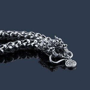 Image 4 - Bracelet en argent Sterling 100% pur 925 pour hommes et femmes, accessoire échelle de Dragon, épaisseur de 5 à 7MM, YB11