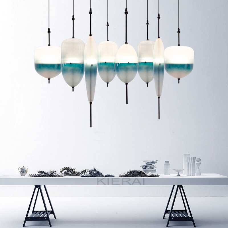 Ceiling Lights & Fans Blue Gradient Glass Art Hang Lamps Pendant Lights Led Lights For Home Nordic Pendant Light Fixtures Loft Style Hanging