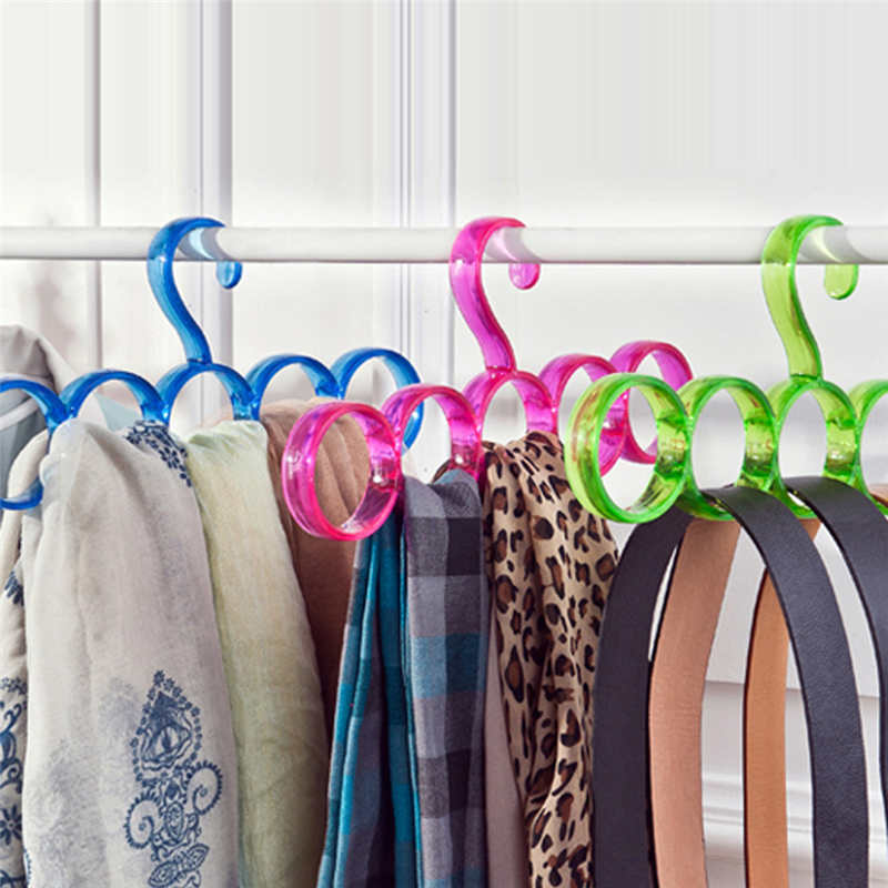 Image 3 - New listing Creative Storage Rack Scarf Hanger 5 Hole Storage Rack Multifunction Removable Tie Clothes Belt Shelf-in Storage Holders & Racks from Home & Garden