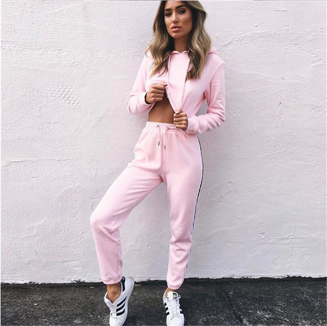 2017 Autumn Womens Tracksuits Two Piece Sets Long Sleeve Hooded Sweatshirt + Pant Pink Sweat Suits Leisure Ladies Jogger Suits