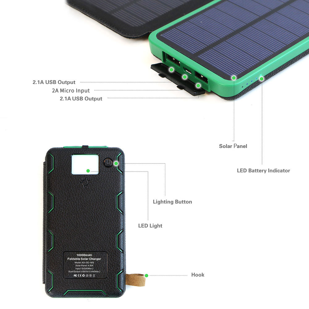 X-DRAGON 10000mAh Power Bank Solar Powered Solar Phone Charger for iPhone 4s 5 5s SE iPhone 6 6s 7 7plus 8 X Samsung HTC Sony.