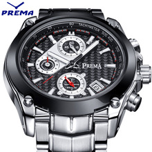 PREMA Chronograph Function Mens Watches Top Brand Luxury Quartz Male Clock Military Sport Men Stop Watch relogio masculino 2016