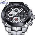 Prema função cronógrafo mens relógios top marca de luxo de quartzo masculino relógio militar dos homens do esporte stop watch relogio masculino 2016