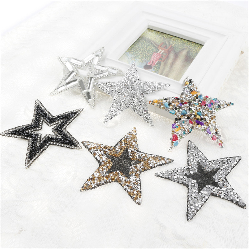 "STARS  4/"" x 4/"" silver /& red Iron On Transfer Applique Rhinestone"