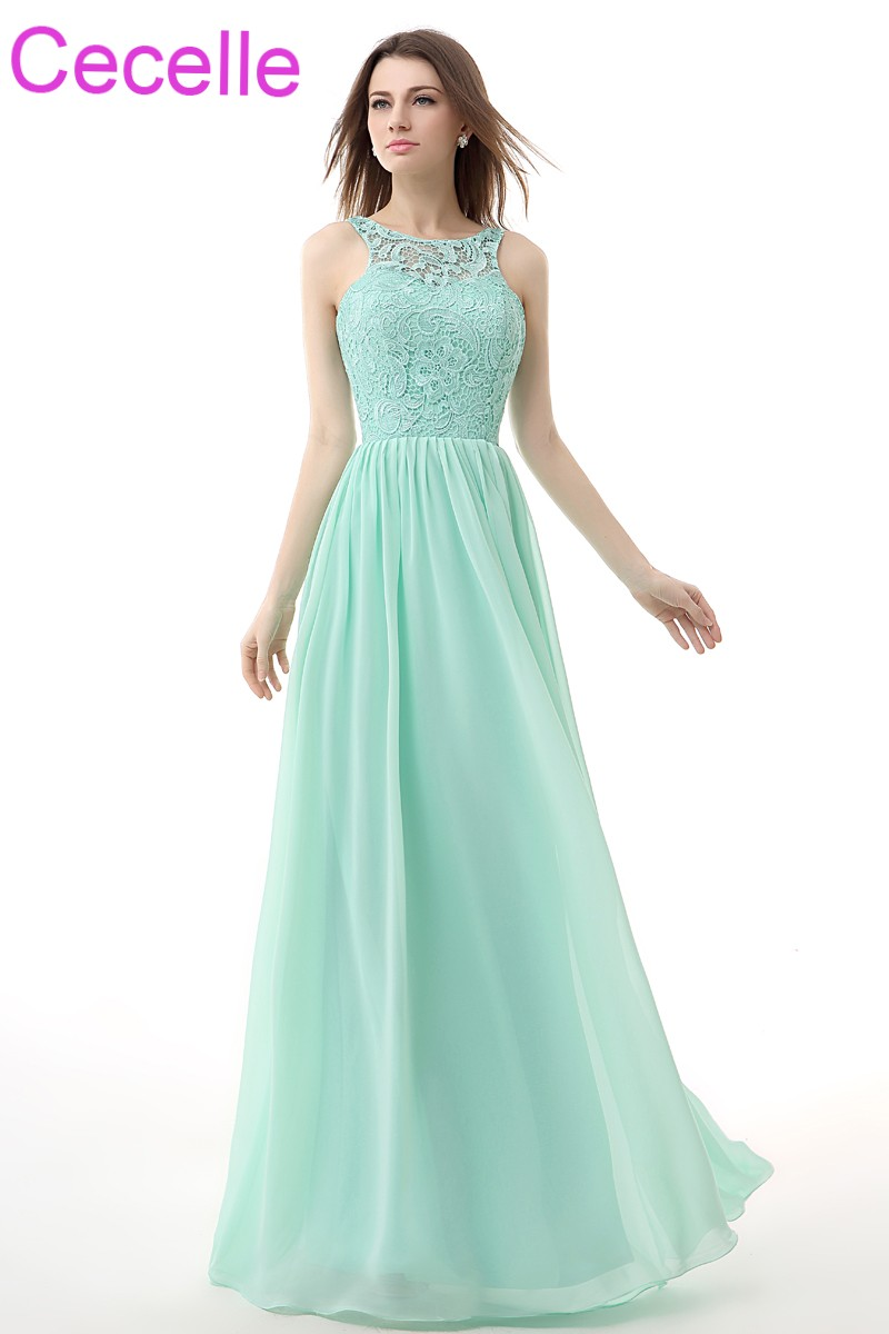 Mint Long Bridesmaid Dresses 2018 Sleeveless Lace Top Chiffon Skirt A Line Country Western Women Wedding Party Dress Open Back In From