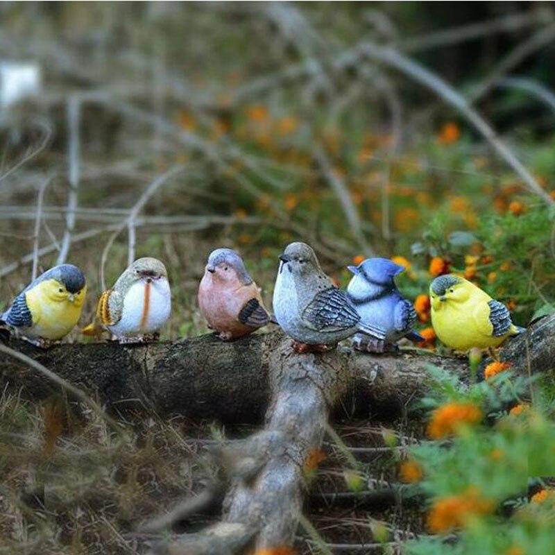 Ludique pie oiseaux Statue en plein air oiseau artificiel résine oiseau 6 pièces un ensemble décor de jardin décor à la maison Art ZA6654