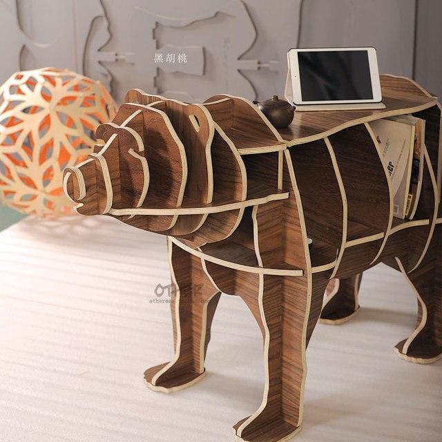 Factory wholesale European DIY Arts Crafts Home Decoration decor bear wood wooden craft gift desk self-build puzzle furniture