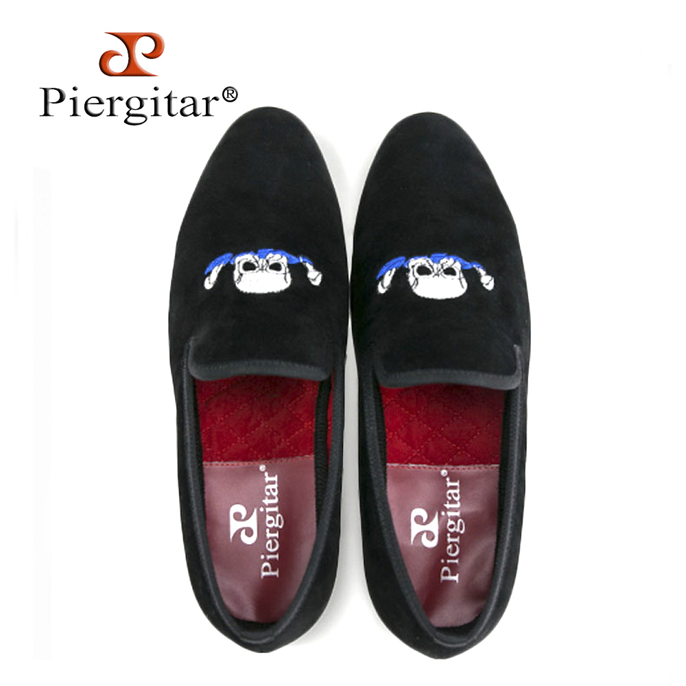 Piergitar Handmade Black Men Velvet Shoes Skull embroidery Loafers Smoking Slippers Men's Flats Size US 6-13 Free shipping a three dimensional embroidery of flowers trees and fruits chinese embroidery handmade art design book
