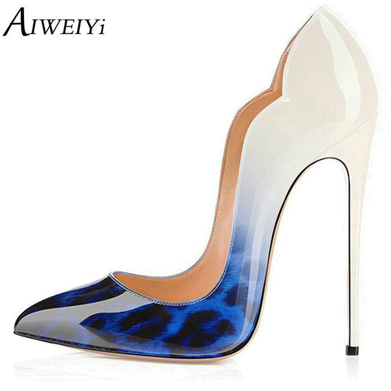 AIWEIYi 2018 New Fashion Leopard Print Pointed Toe Pumps Stiletto High Heels Slip-On Women Shoes Dress Party Shoes Platform Heel aiweiyi 2018 summer women shoes pointed toe stiletto high heel pumps dress shoes high heels gold transparent pvc shoes woman