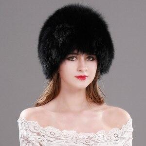 Image 5 - Женские шапки из натурального меха лисы, шапки вязаная из натурального меха, зимние теплые шапки для русской зимы, шапки из меха серебристой лисы