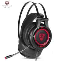 New Motospeed H18 Gaming Headphone 7.1 Virtual Surround Sound USB Plug Over-ear Gaming Headset with Mic V40 Mouse for PC PUBG