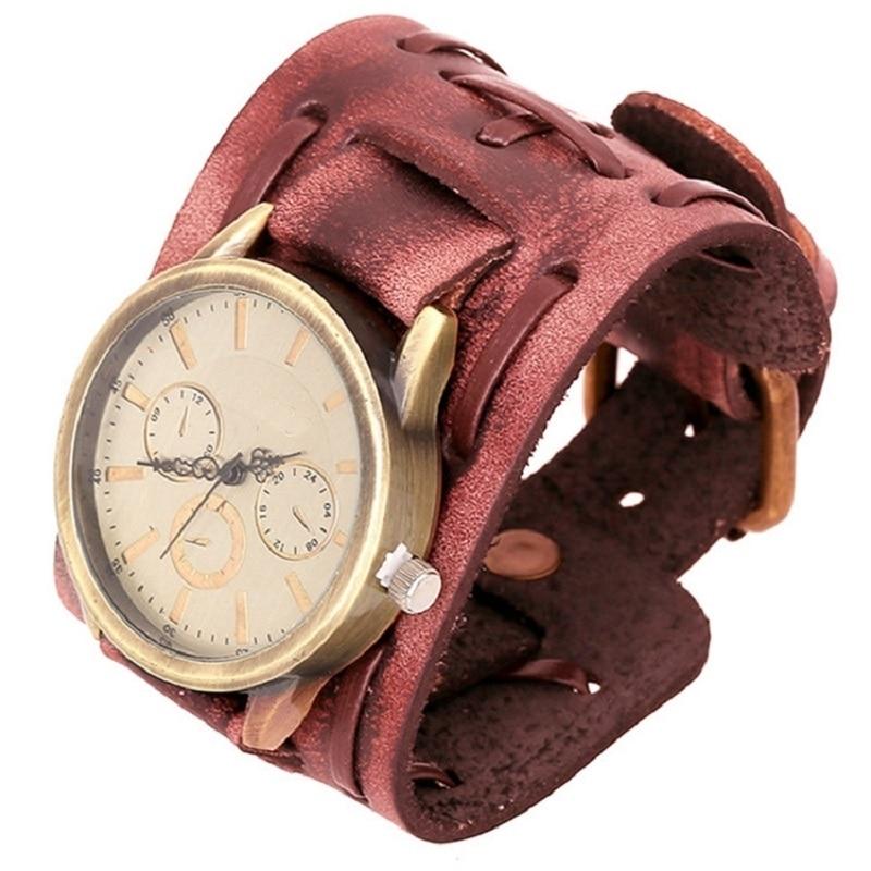 Gnova Platinum Japanese Movement Vintage Punk Genuine Leather Bracelet Wristwatch Wide Band Strap Quartz Clock Hours A361