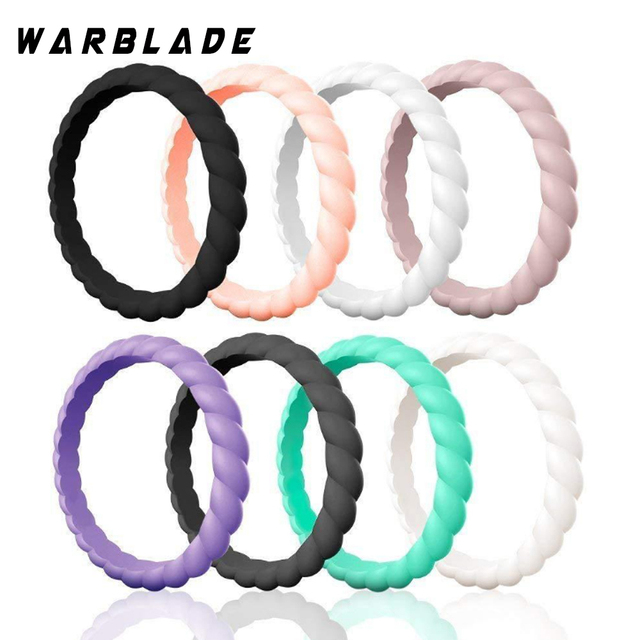 Fashion 3mm Thin Braided Silicone Ring For Women Wedding Rings Sports Hypoallergenic Crossfit Flexible Woven Rubber Finger Ring