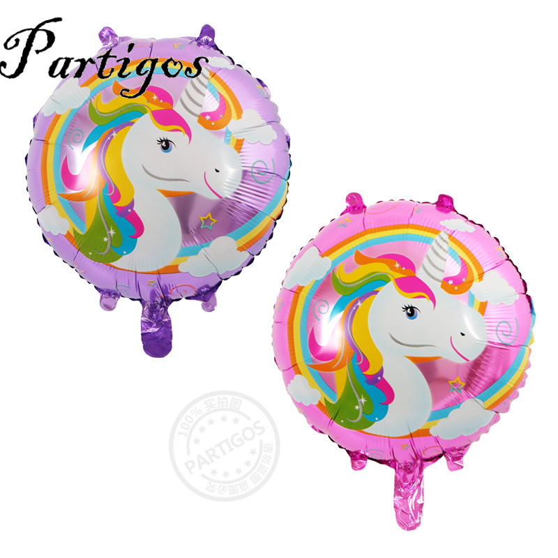 5pcs/lot 18 inch pink purple unicorn Round Foil Balloons birthday Theme Party Decor baby shower Helium Inflatable Globos Gift