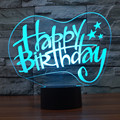Happy Birthday 3D Light 2017 Acrylic Led Table Lampara 7 Color Glowing Novelty Bedroom Beside Night Light Kids Lovers' Gift