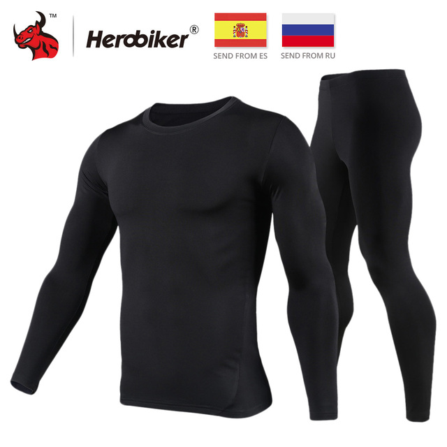 HEROBIKER Motorcycle Thermal Underwear Set Men's Motorcycle Skiing Winter Warm Base Layers Tight Long Johns Tops & Pants Set