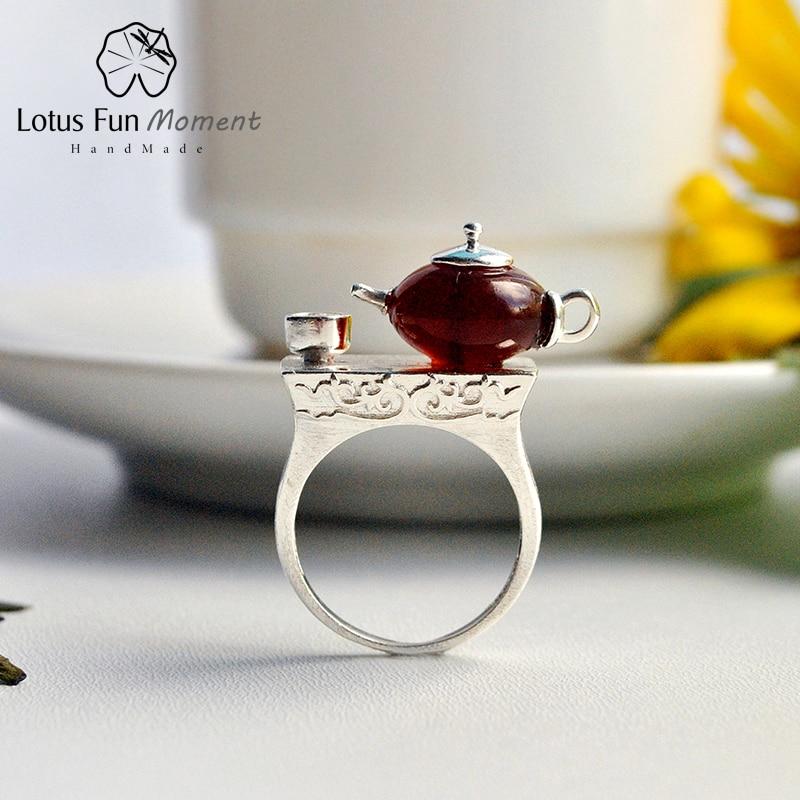 Lotus Fun Moment réel 925 argent Sterling pierre naturelle Original fait à la main bijoux de mode Vintage CuteTeapot anneaux pour femmes