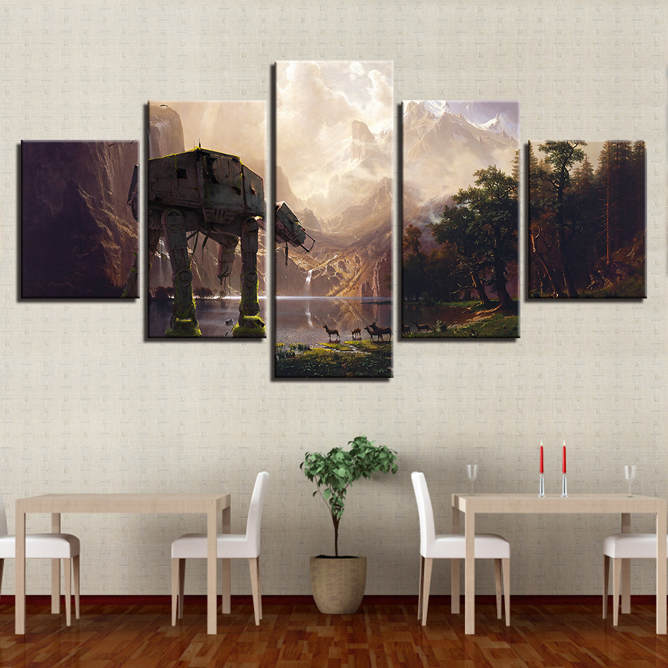 Us 9 49 modern home decor 5 panel movie star wars framed abstract canvas print painting wall art for living room modular picture in painting