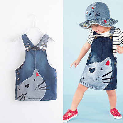 Toddler Cute Cat Baby Kids Boys Girls Toddler Denim Jeans Overalls Dress Skirt Clothes