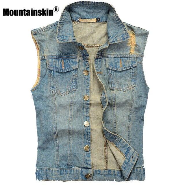 Mountainskin рваные джинсовый жилет Для мужчин без рукавов куртка 5xl Повседневное жилет Для Мужчин's Джинсовое пальто Slim Fit ковбой мужской жилет SA336