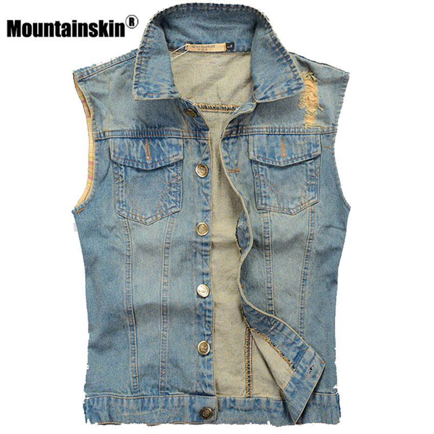 Mountainskin Ripped Denim Vest Men's Sleeveless Jacket 5XL Casual Waistcoat Men's Jean Coats Slim Fit Cowboy Male Vest SA336