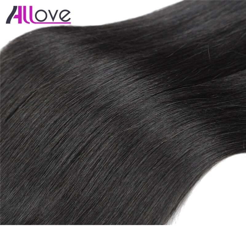 Allove индийские волосы прямые волосы 3 Связки с Синтетическое закрытие волос 100% Волосы Remy натуральный Цвет бесплатная часть 4x4 Синтетическое ...