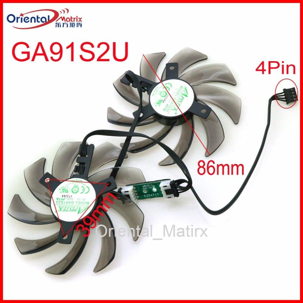 Freies Verschiffen GA91S2U-PFTA DC12V 0.40A 4Pin 86mm VGA Fan Für GEFORCE GTX1080 GTX1070 GTX1060 Grafikkarte Kühlung fan