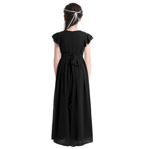 Image 5 - Kids Girls Flutter Sleeves Pleated High waisted With Sash Ties Floor Length Chiffon Dress Flower Girls Dresses for Wedding Party