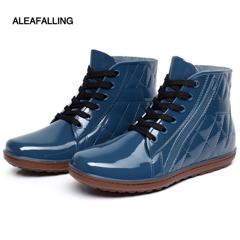 Aleafalling Mode 2017 Männer Regen Stiefel Gummi Lace Up Männer Stiefeletten Wasserdicht Casual Komfort Gentlmen Reife Boot Schuhe M005