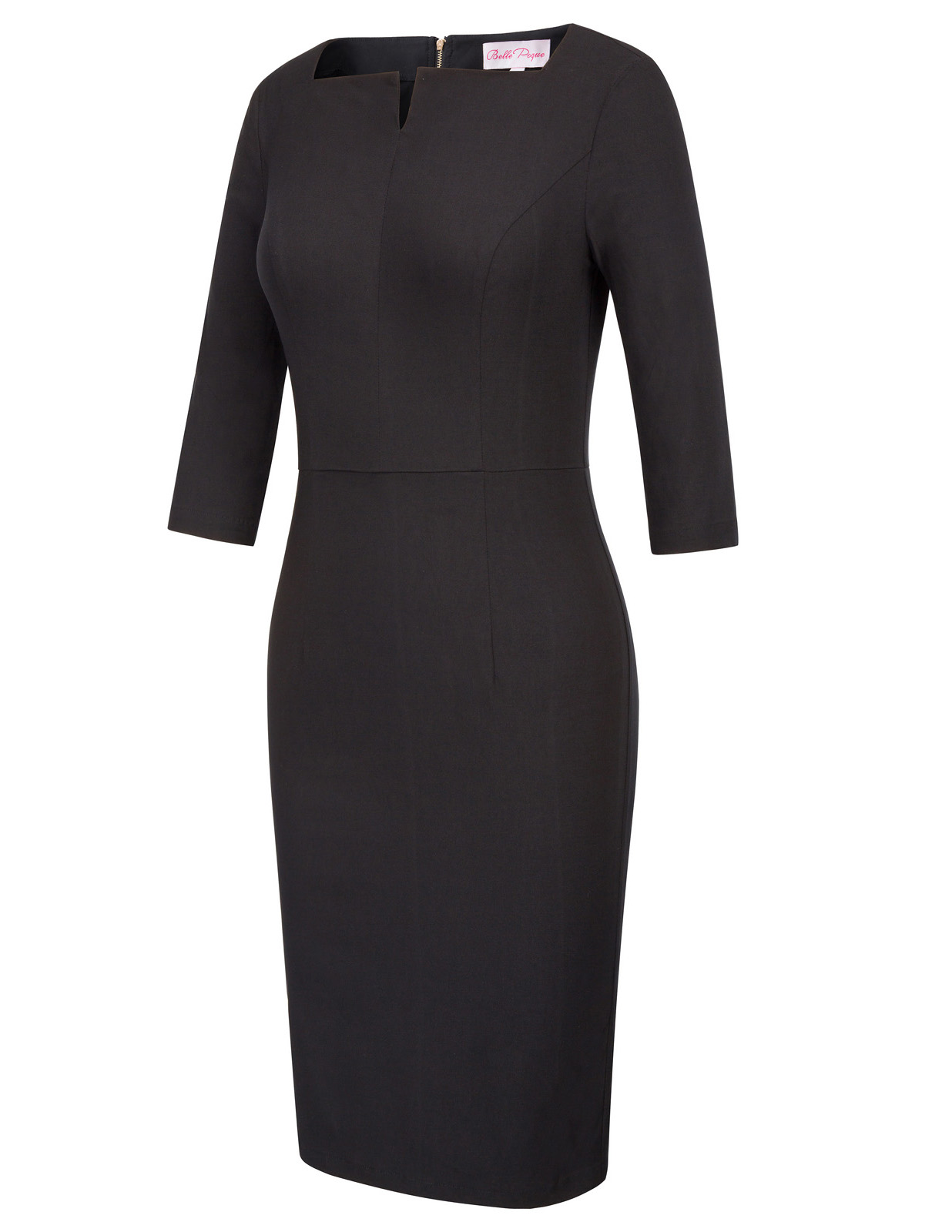 Bp Womens Solid Color 3/4 Sleeve Office Hips-wrapped Bodycon Slim Pencil Dress