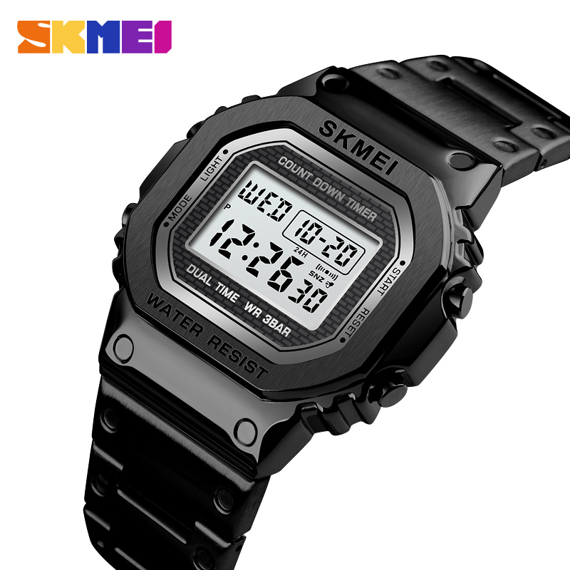 <font><b>SKMEI</b></font> Fashion Sport Watch Men Digital Watches 3Bar Waterpoof Alarm Clock Alloy Case Digital Men Watches reloj hombre <font><b>1456</b></font> image