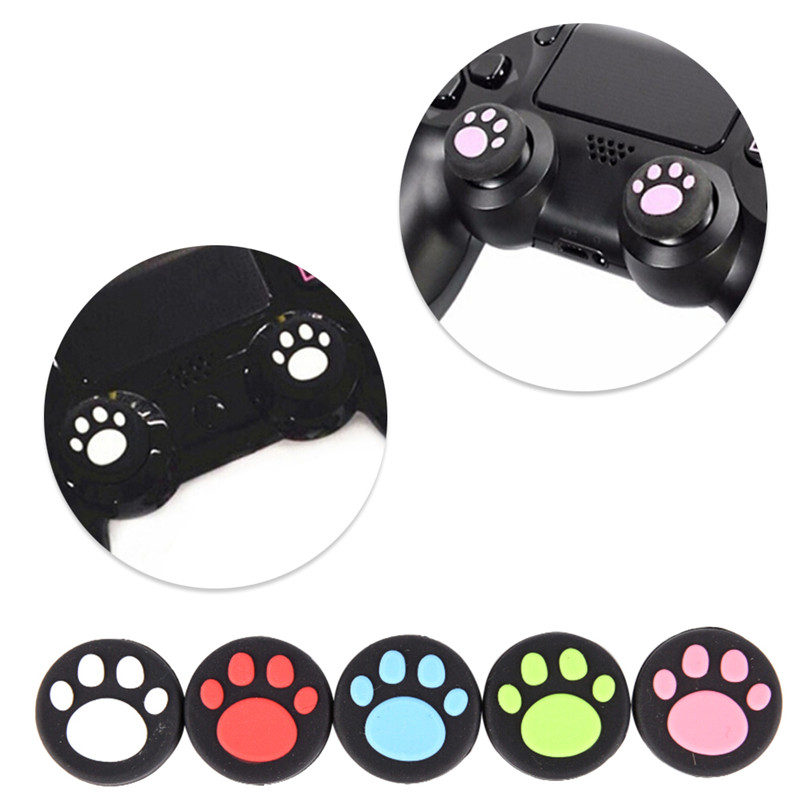 2 Pcs Cat Paw Rubber Silicone Game Handle Joystick Thumb Stick Grip Cap For PS3 PS4 Xbox One/360 pxn 0082 game joystick gaming controllers 8 buttons game rocker lever joystick gampad handle controller for ps4 ps3 xbox one