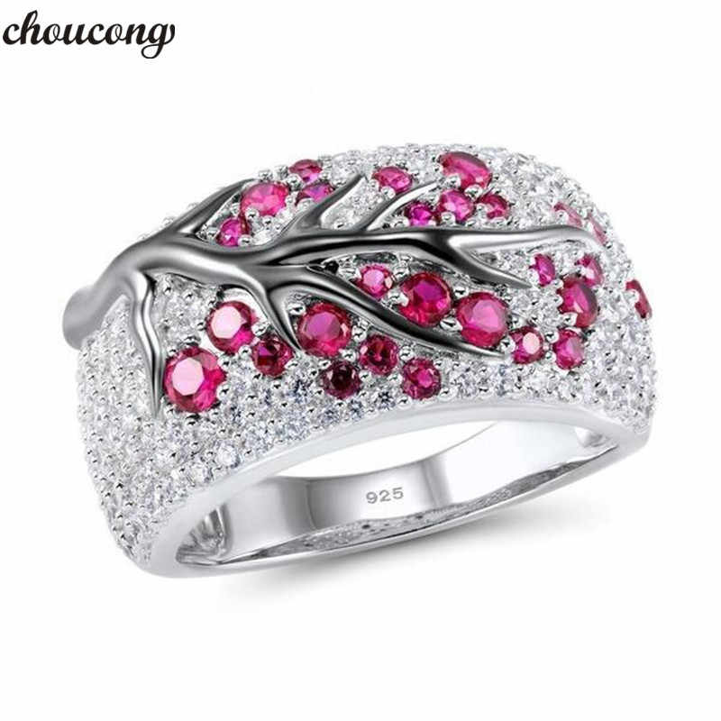choucong Handmade Branch Promise Ring AAAAA Zircon Cz 925 Sterling Silver Luxury Engagement Wedding Rings for Women Bridal Gift