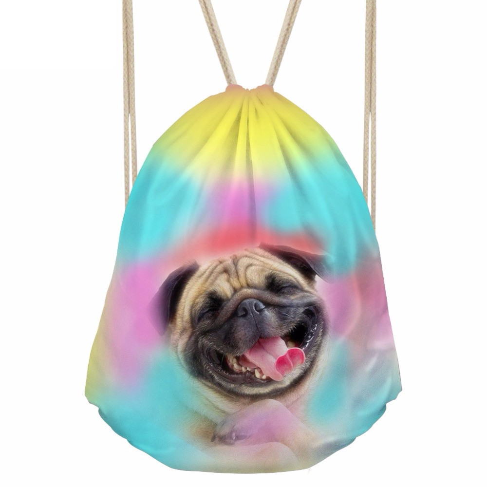 Casual Boys Girls Drawstrings Bags Kawaii 3D Rose Pug Dog Husky Print Children Schoolbags Storage Backpacks