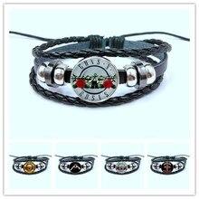 Модный кнопочный браслет guns n Roses художественное изображение стеклянный купол BPGNR браслет с логотипом стимпанк музыкальный браслет