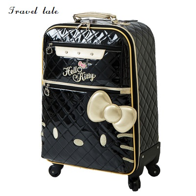 HJX Travel tale fashion Lovely KT 20/24 inch100% PU Rolling Luggage Spinner brand Travel Suitcase vintage suitcase 20 26 pu leather travel suitcase scratch resistant rolling luggage bags suitcase with tsa lock