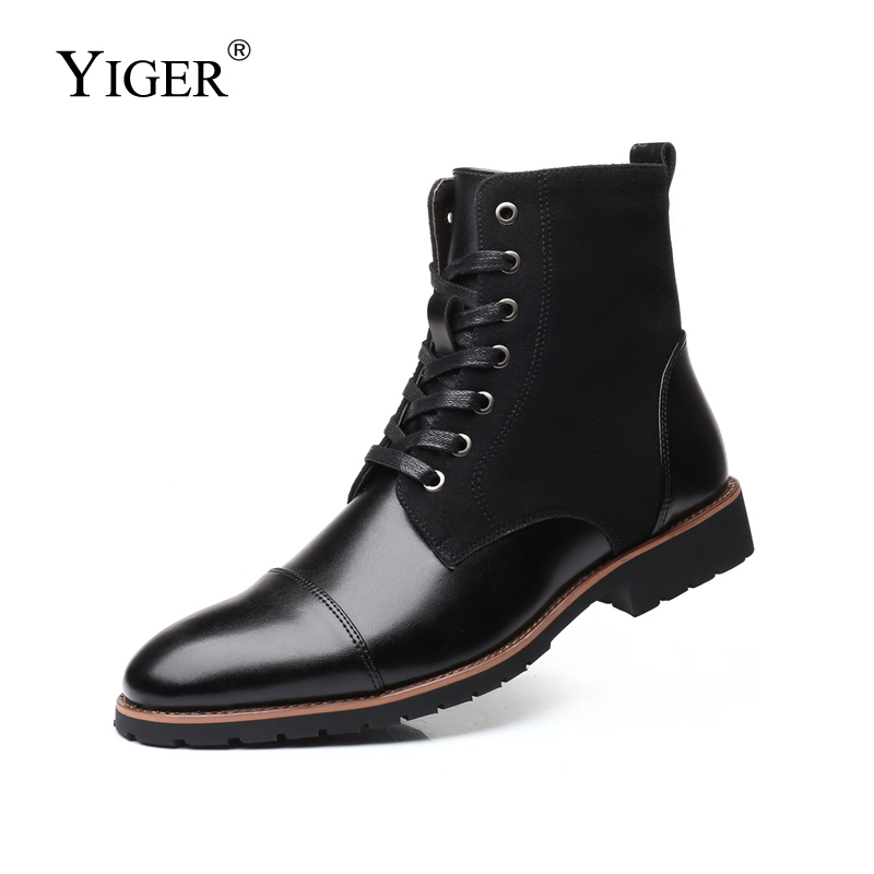 YIGER New Men Martins Boots Casual Male Motorcycle Boots Large Size Plus Fur Men's Lace-up Winter Boots Fashion Army Boots  0328