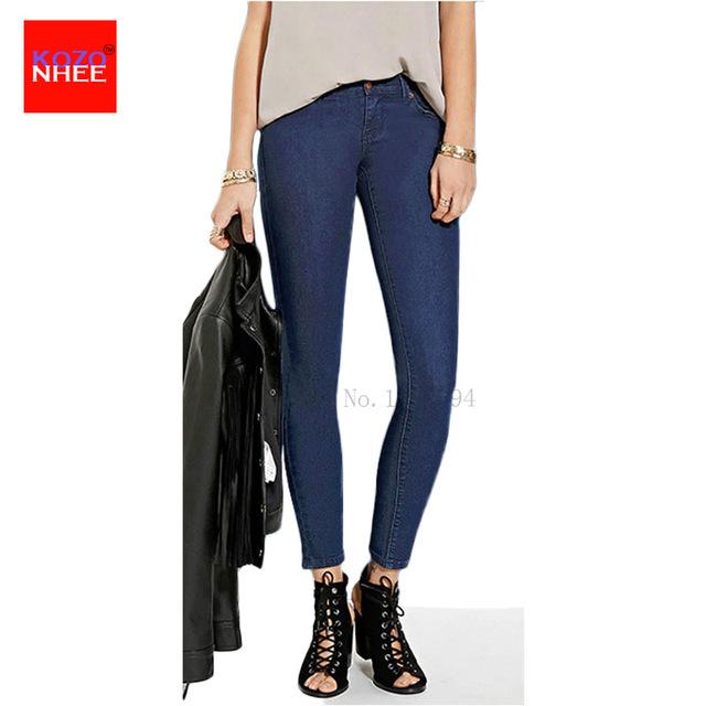 Profundo Azul Del Estiramiento de Cintura Alta pantalones vaqueros Mujer Pantalones Vaqueros Del Lápiz Flaco pantalones Para Mujer Pantalones Vaqueros de Gran Tamaño Con Un Elástico banda