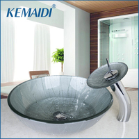 OUBONI Waterfall Deck Mount Single Handle Washbasin Lavatory Tempered Glass Basin Sink Combine Vessel Vanity Tap