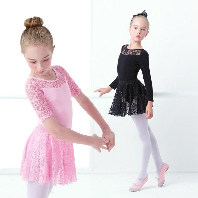 Niñas niños encaje Ballet Leotard vestido algodón negro del Ballet ...
