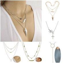 Fashion Jewelry Simple Personality Wild Temperament Alloy Multi Layer Chain Pendant Necklace Female Gift