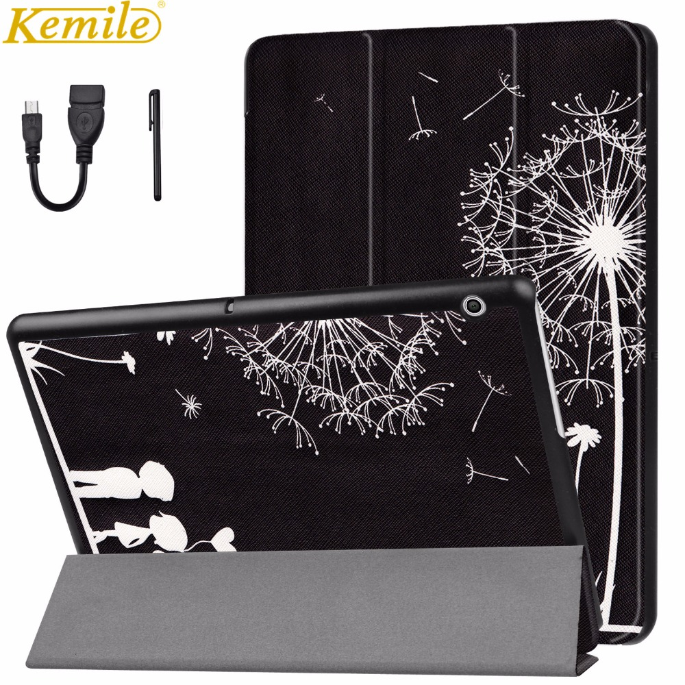 Kemile Case For Huawei MediaPad T3 10 Tablet Stand Slim Cases For T3 9.6 inch Honor Play Pad 2 Cover AGS-L09 AGS-L03 W09 +Gift case for huawei mediapad t3 10 ags w09 ags l09 ags l03 9 6 inch tablet cover cases protective pu leather protecto sleeve covers
