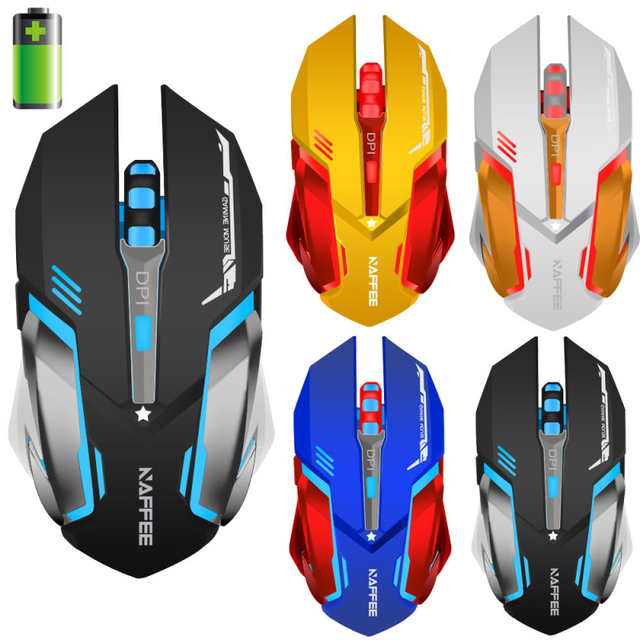 New 2.4GHz Wireless Rechargeable Promotion 2400DPI 6 Buttons 4 colors Optical Usb Gaming Mouse Game Mice For PC Laptop Desktop