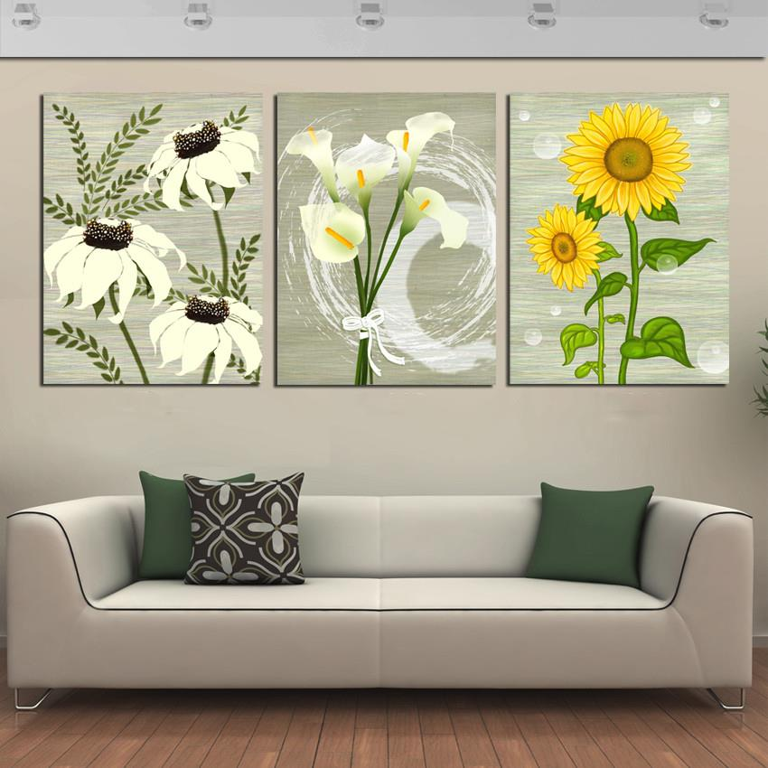 Captivating Hot Sell 3 Piece Canvas Wall Art Modern Office Decoration Wall Painting  Flower Home Art Picture