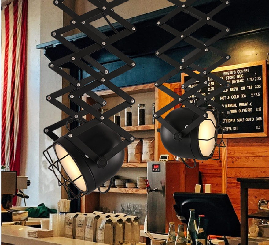 Artpad Industrial Vintage Ceiling Lights E27 Base Metal Stretchable Adjustable Black Color for Coffee Store Bar Clothes Shop in Ceiling Lights from Lights Lighting