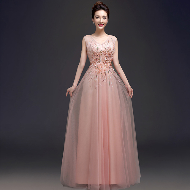 2017 Bride Bridal Formal Dress Pink Bead Pearls Sequined Tulle