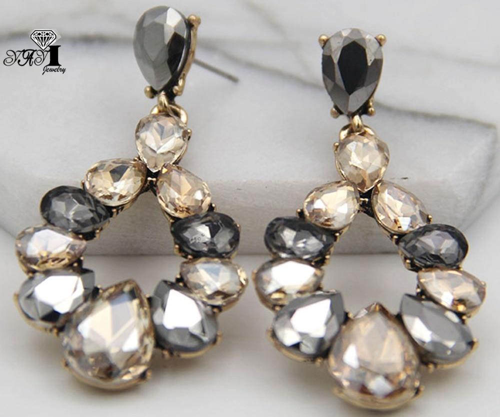 YaYi Jewelry Brown Glass Rhinestone Dangle Crystal Earring Women's Fashion Ancient Silver Color Gem Long Earrings Gift 1258 Drop Earrings  - AliExpress