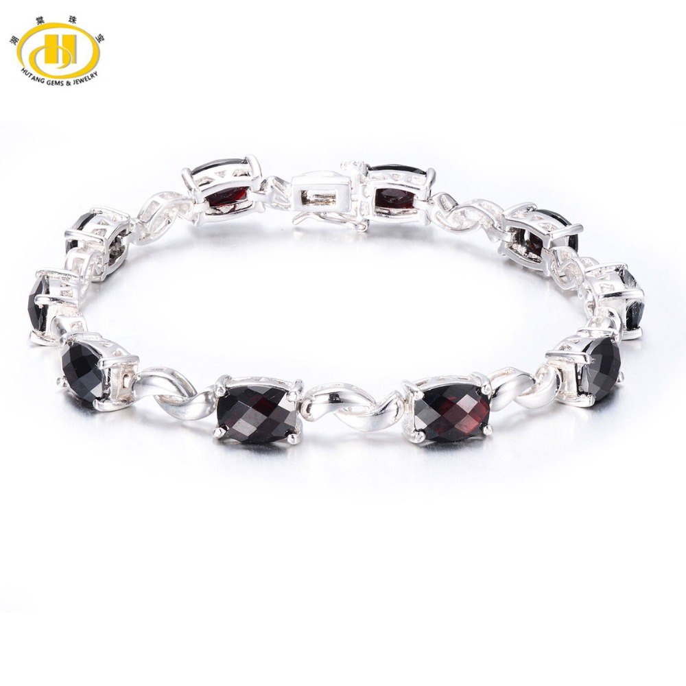 Hutang classique 18Ct grenat naturel lien Bracelet solide 925 en argent Sterling femmes damier coupe pierres précieuses bijoux fins femmes