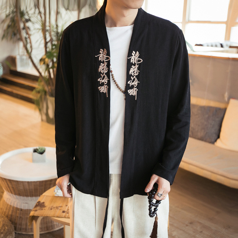 Spring And Summer Wind Chinese Size No Buckle Embroidery Linen Jacket Men Linen Cardigan A Robe On Behalf Of Hanfu